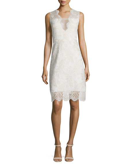 Elie Tahari Anne Sleeveless V-Neck Lace Dress