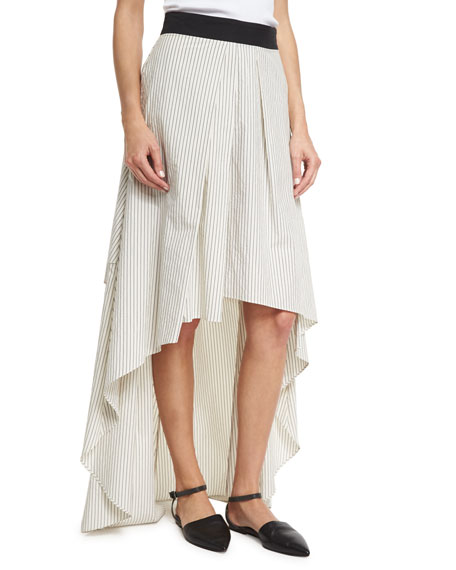 Brunello Cucinelli Striped High-Low Maxi Skirt, Multi