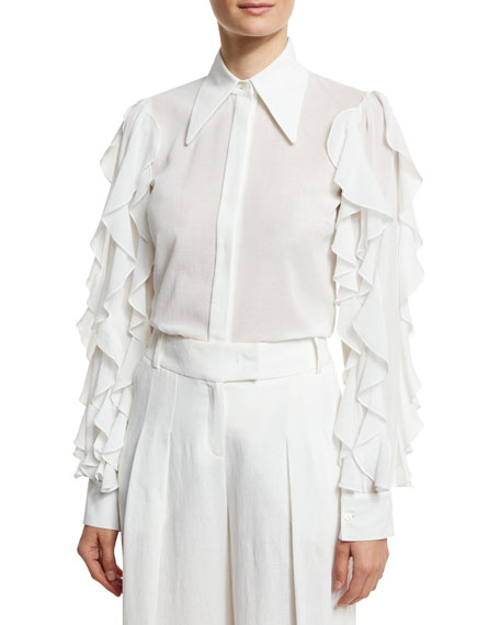 Michael Kors Collection Ruffled-Sleeve Cotton Blouse, White