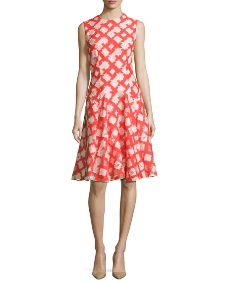Sleeveless Godet A-Line Dress, Coral/Blush