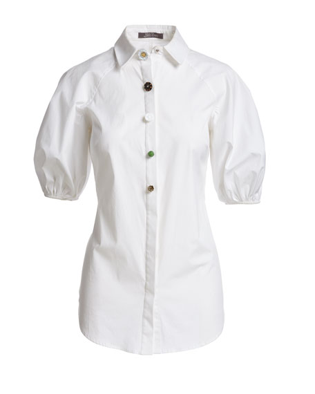 Full-Sleeve Button-Down Blouse, White