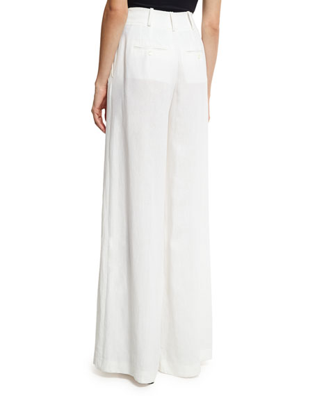 Linen Palazzo Trousers, White