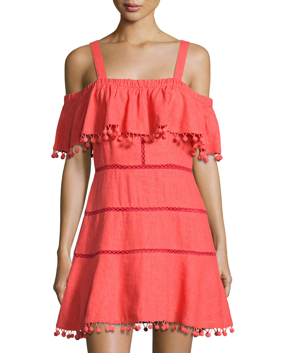 5903e7851f3f Red Carter Aster Pompom-Trim Sundress Coverup