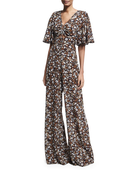 Michael Kors Collection Floral Palazzo Jumpsuit, Brown Pattern
