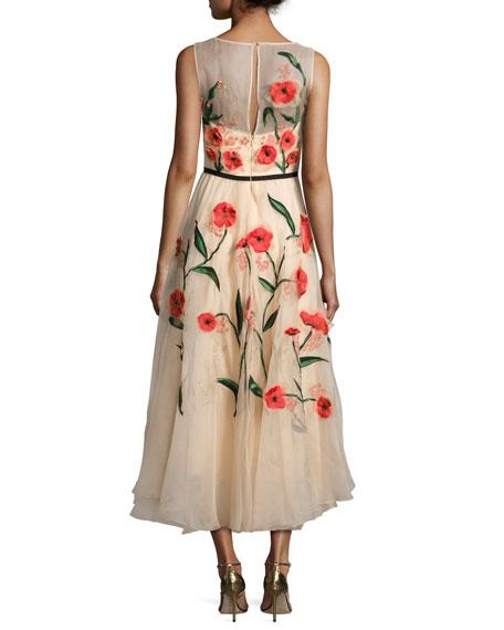 Floral-Appliqué Sleeveless Midi Dress