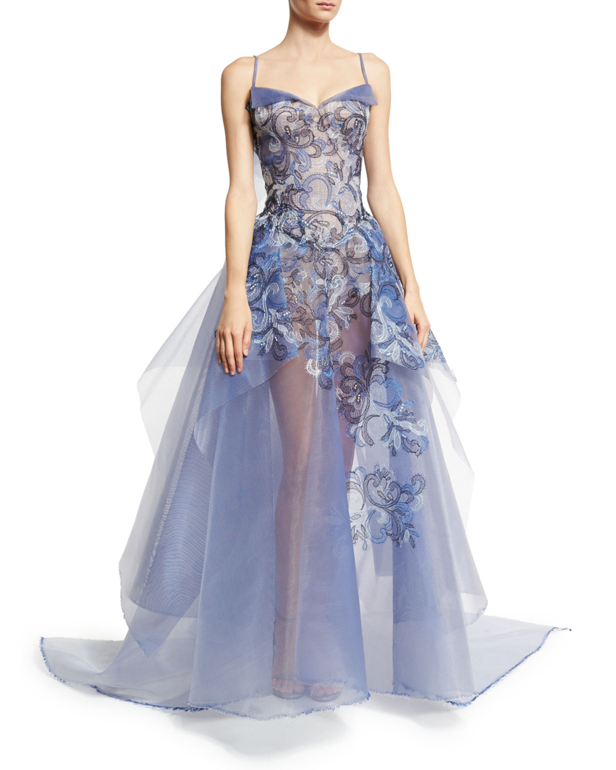 Zac Posen Embroidered Guipure Sleeveless Ball Gown f60f87faedbd