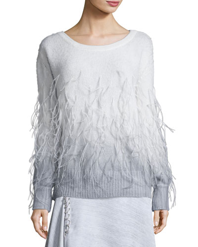 Feather Degrade Off-the-Shoulder Sweater, Gray/White