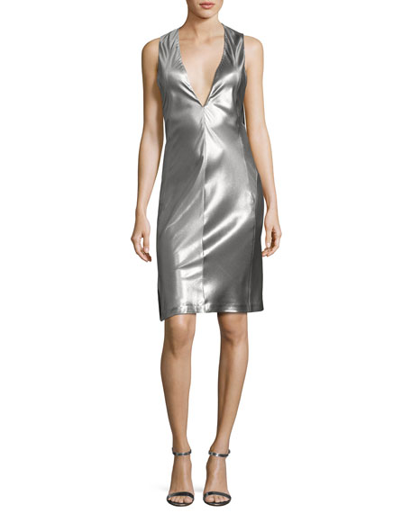 Sleeveless Low-Armhole Shift Dress, Silver