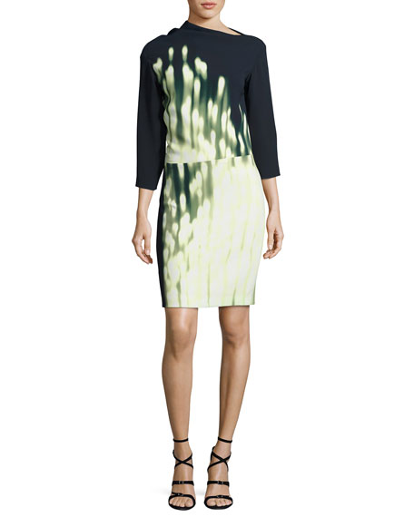 Narciso Rodriguez Dot-Print Drape-Neck 3/4-Sleeve Dress, Blue/Orange