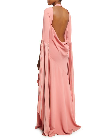 Cowl-Back Fan-Sleeve Gown, Pink