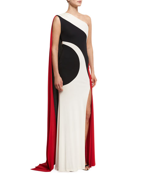 Colorblock One-Shoulder Gown, Black/Ivory/Red