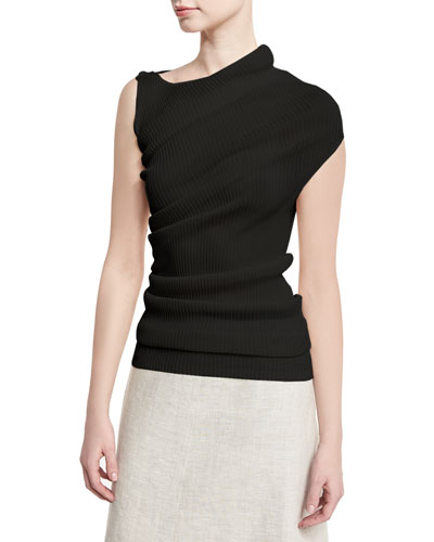 Asymmetric Ribbed Knit Top, Black