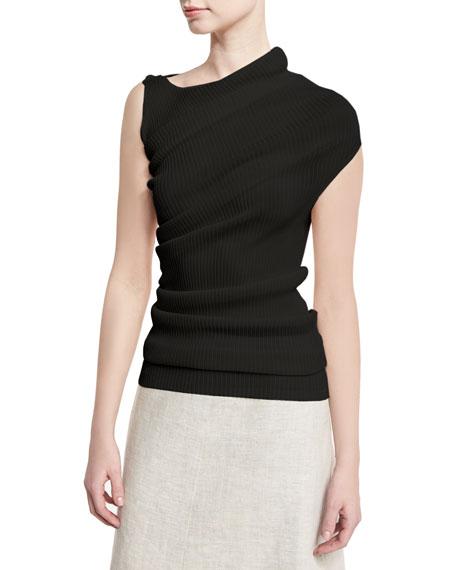Asymmetric Ribbed Knit Top, Black