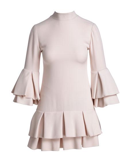 Ruffled-Trim 3/4-Sleeve Mini Dress, Light Pink
