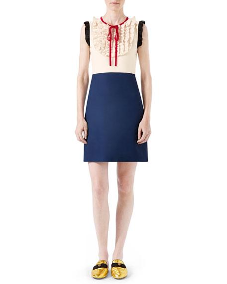 Silk Wool Contrast Dress, Ivory