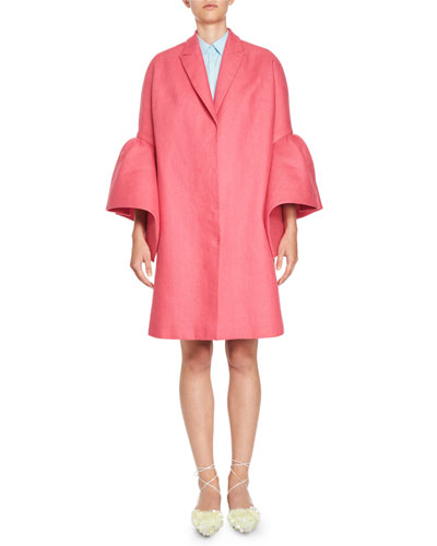 Notch-Collar Ruffled-Sleeve Coat, Fuchsia
