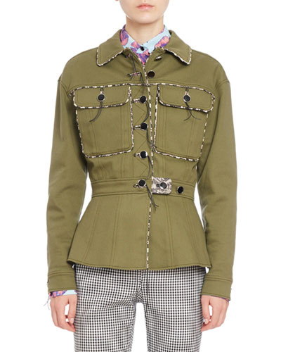 Feday Patch-Pocket Military Jacket, Olive Green