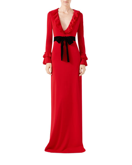 Gucci Viscose Jersey Gown with Ruffles, Red