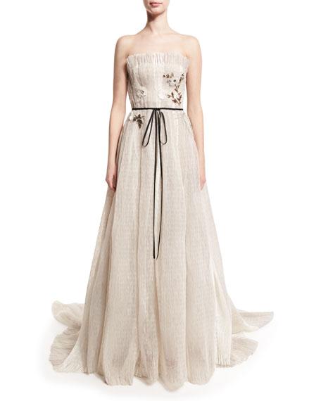 Monique Lhuillier Seersucker Organza Strapless Gown, Silk White