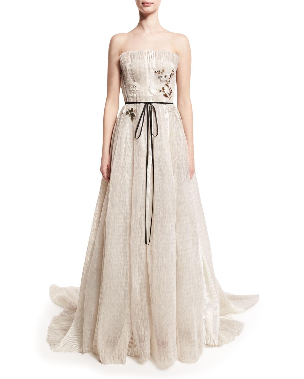 Monique Lhuillier Seersucker Organza Strapless Gown, Silk White ...