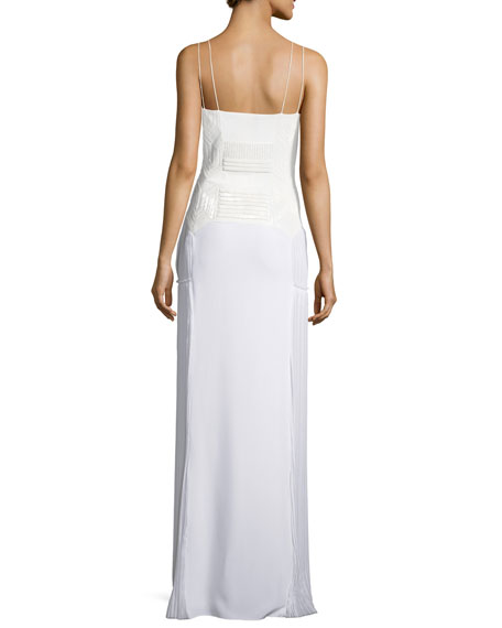 Cushnie Et Ochs Deco-Beaded Sleeveless Pleated Gown, White