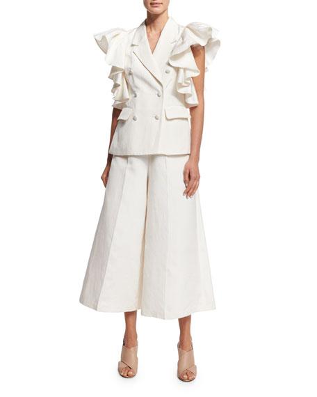 High-Waist Wide-Leg Culotte Pants, Ivory
