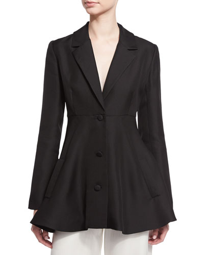 Three-Button A-Line Jacket, Black