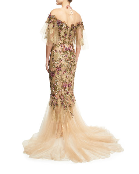 Floral-Embroidered Halter Mermaid Gown, Nude/Multi