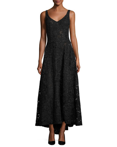 Sleeveless V-Neck Corded Lace Gown, Black