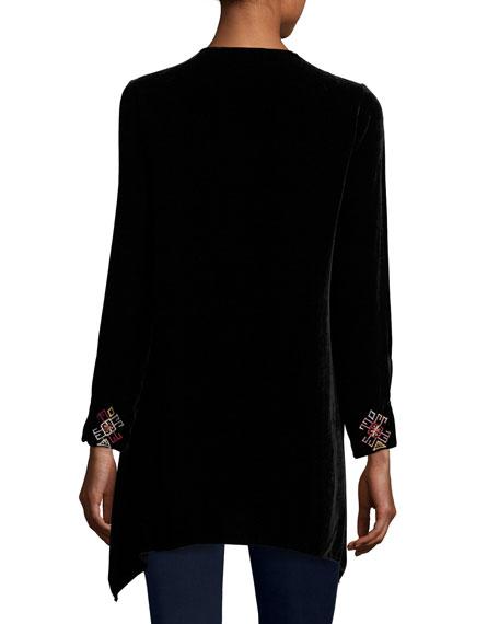 Landon Embroidered Velvet Tunic, Plus Size