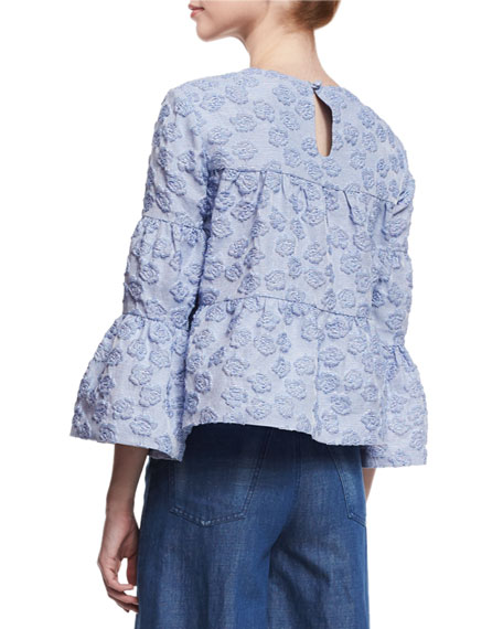Tiered Seersucker Swing Blouse, Blue
