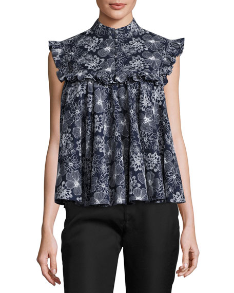 Floral Ruffled Sleeveless Blouse, Navy