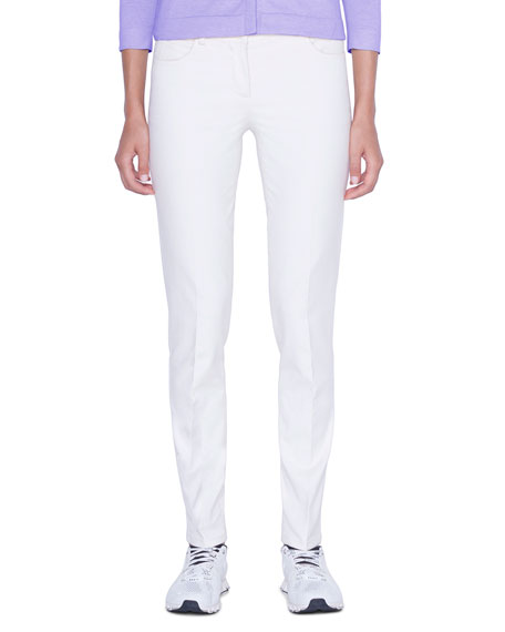 Akris Magda Slim-Leg Ankle Pants, Moonstone Ivory