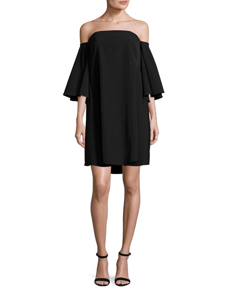 Milly Mila Off-the-Shoulder Italian Cady Minidress, Black