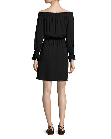 Josephine Off-the-Shoulder Silk Dress, Black