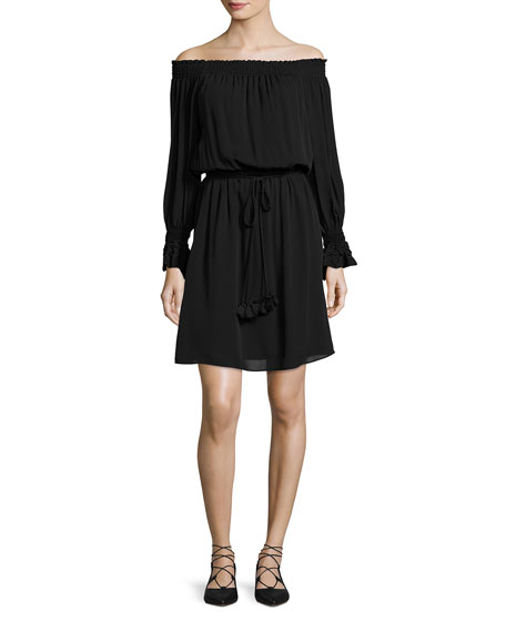 Josephine Off-the-Shoulder Silk Dress, Black