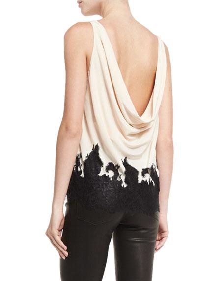 Marge Draped-Back Lace-Hem Silk Top