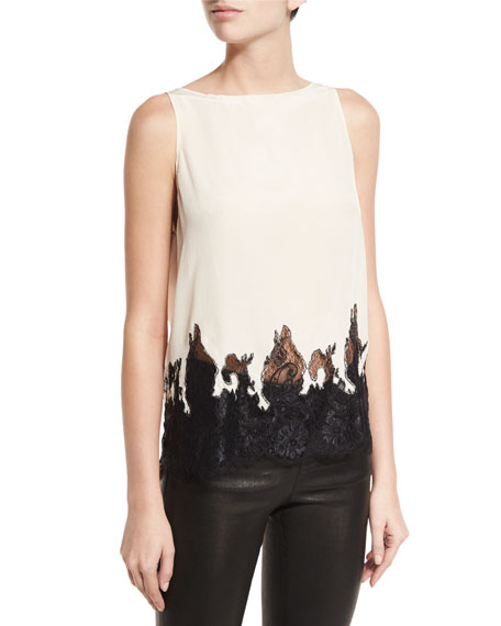 Alice + Olivia Marge Draped-Back Lace-Hem Silk Top