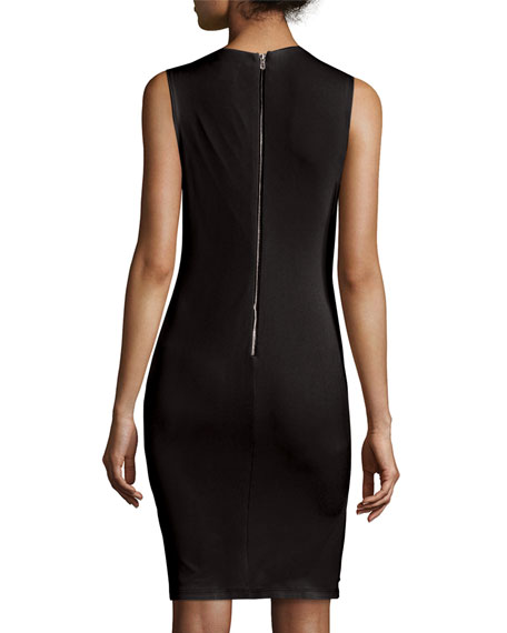 Delores Side-Pleat Fitted Tank Dress, Black