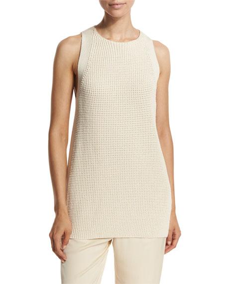Vince Waffle-Stitch Sleeveless Tunic Sweater, Off White
