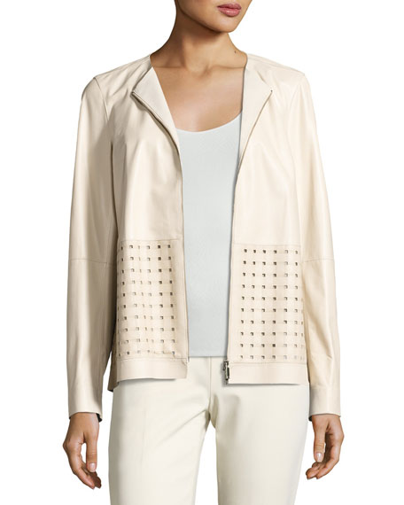 Bari Perforated Leather Jacket, Oyster