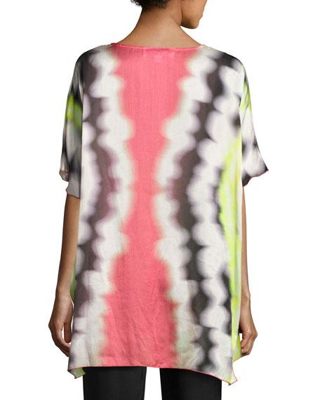 Watercolor Waves Short-Sleeve Caftan