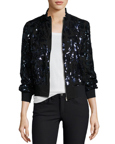 Sequined Silk Bomber Jacket