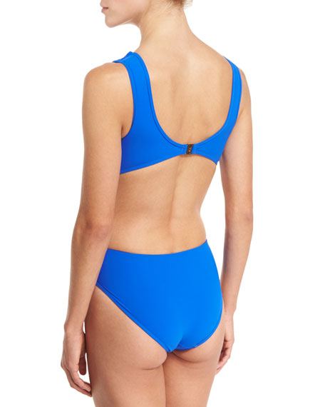 Appearances Draped Plunging One-Piece Swimsuit, Blue