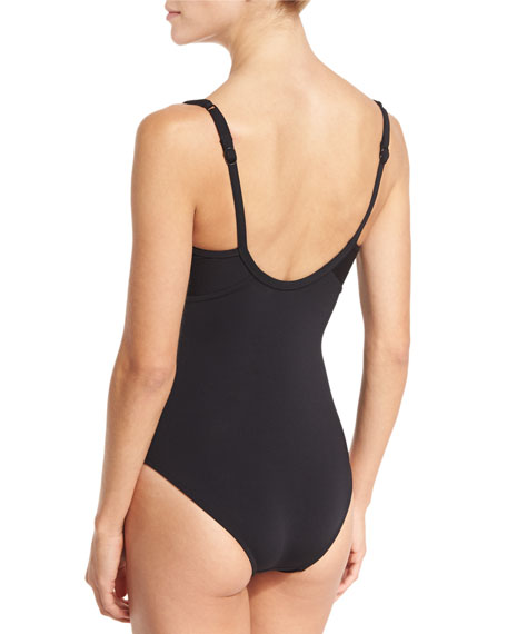 Classique Contrast-Paneled One-Piece Swimsuit, Black/White (Available in Extended Cup Size)