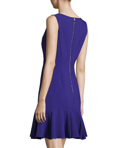 crepe sleeveless flounce dress, night blue