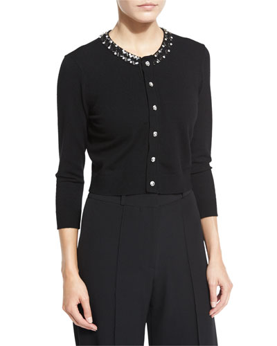 3/4-Sleeve Gem-Collar Cropped Cardigan, Black