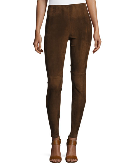 Ralph Lauren Collection Eleanora Suede Leggings, Brown