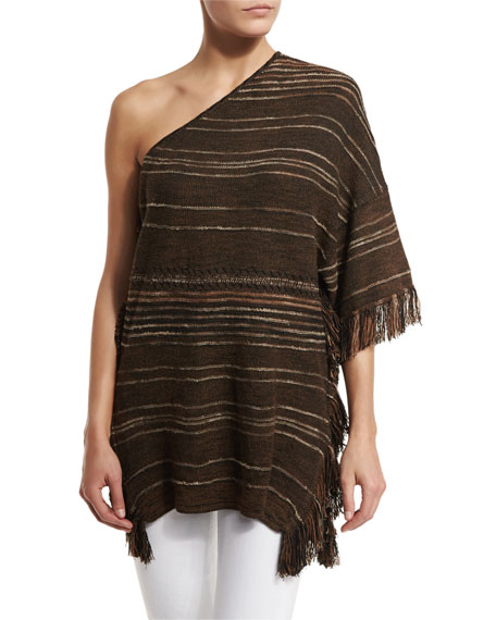 Striped One-Shoulder Fringe Tunic, Espresso