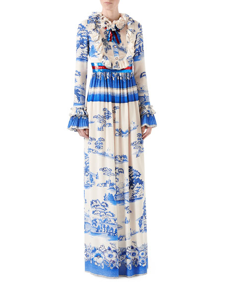 Porcelain Garden Print Silk Gown, Magnolia Blue/White